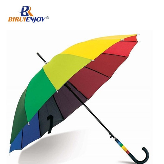 Colorful rainbow umbrella 24 inch female