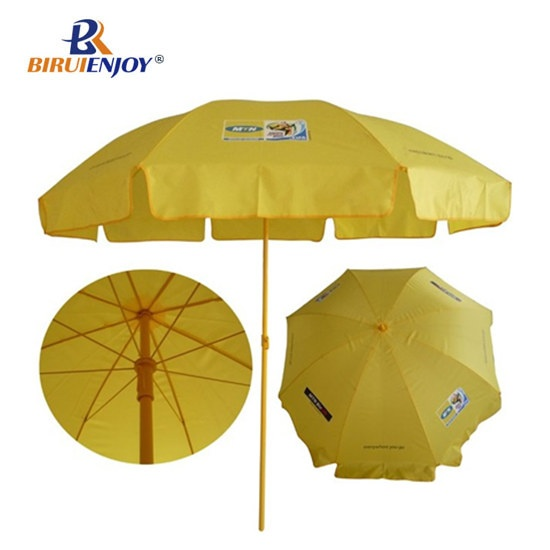 promotional beach umbrella yellow 180cm