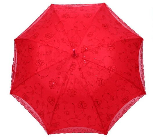 Wedding umbrella lace red fashion design