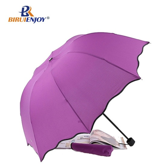 Color changing folding umbrella for rain sun 21 inch