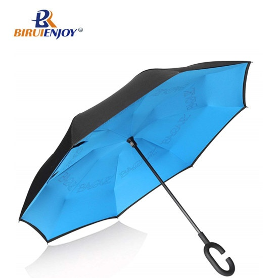 Black Yellow Inverted Umbrella for cars waterproof inside out