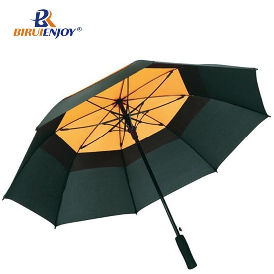 Windproof golf umbrella double layer with logo printed auto