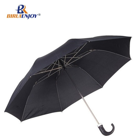 2 section men umbrella with crooked handle