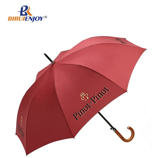 Customized umbrella wood handle green fabric