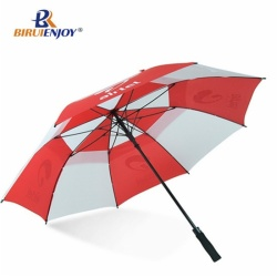 30 inch windproof golf umbrella red white, automatic
