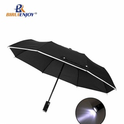 Flash umbrella with lighting handle foldable