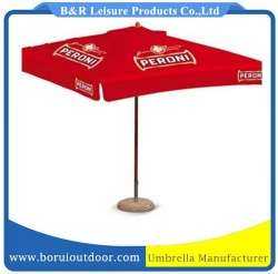 2 meter outdoor parasol metal frame square red