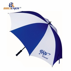 Umbrella 48 Inch Classic Stick Umbrella blue HALLAM logo