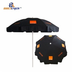 Black beach umbrella Orange logo 180 strong quality custom parasol