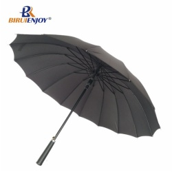 Black mens stick umbrella 16 rib bike umbrella auto