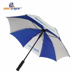 Branding stick umbrella blue red canopy wood handle Havanna logo sweden