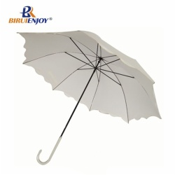 Fashion lady wedding umbrella ivory bubble parasol long curved handle